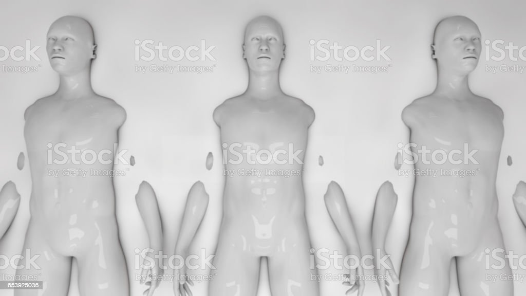 3d rendering. Humanoid clones and liquid stock photo