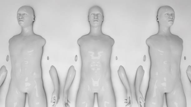 3d rendering. Humanoid clones and liquid stock photo