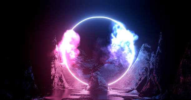 3d rendering illustration. Hoop or circle, Purple and red neon light amid smoke among the rocks and mountains. Neon frame for your design 3d rendering illustration. Hoop or circle, Purple and red neon light amid smoke among the rocks and mountains. Neon frame for your design amid stock pictures, royalty-free photos & images