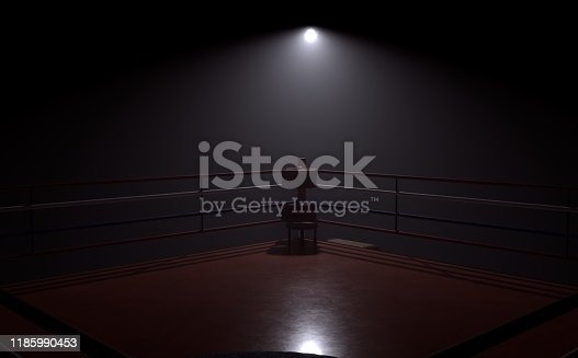 3d rendering illustration of a boxing ring in a dark with spotlight