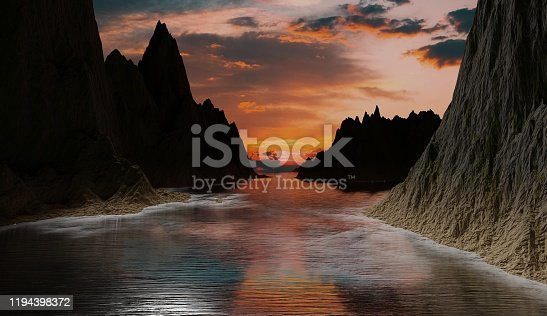 3d rendering illustration of a sunset scene for advertisement