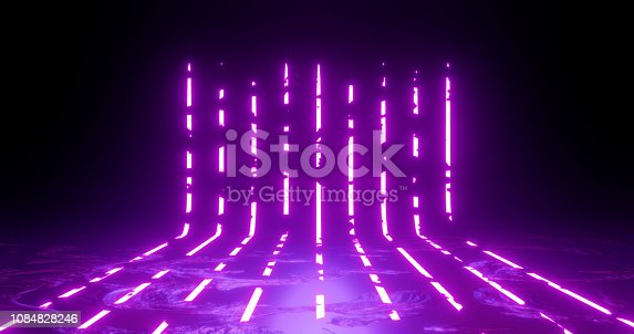 3d rendering illustration. Vertical lines Purple and red neon lights on a black background. Neon frame for your design.