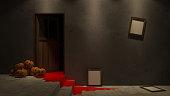 3d rendering image of interior design in halloween festival