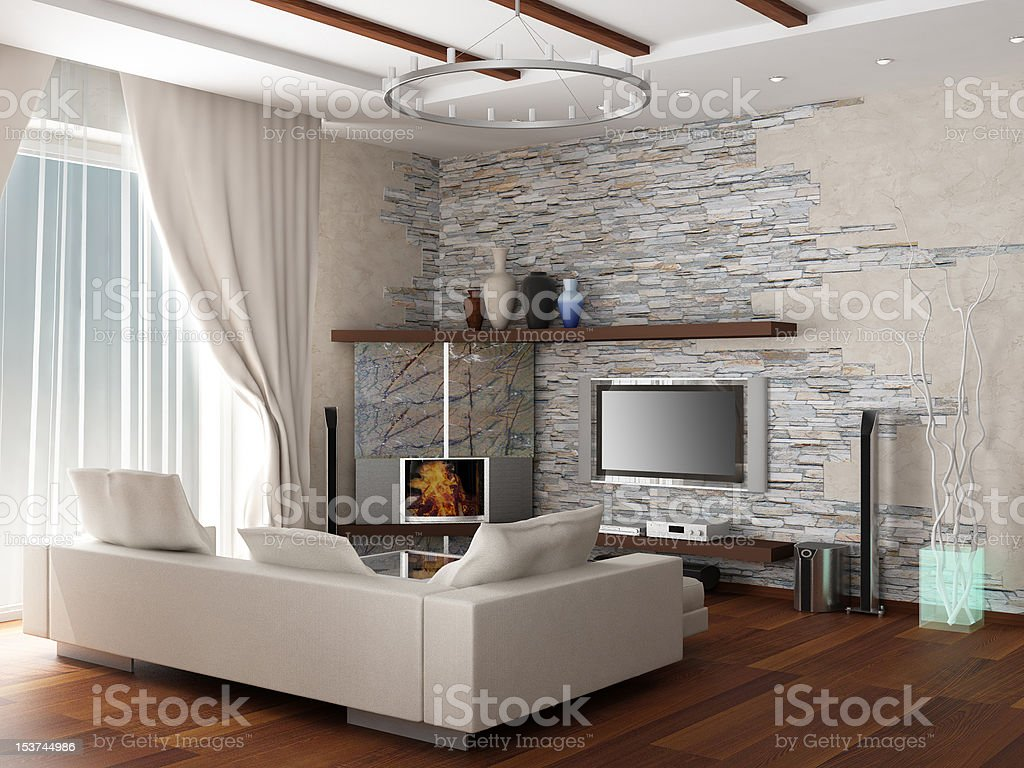 3d rendering. Interior of a modern drawing room royalty-free stock photo