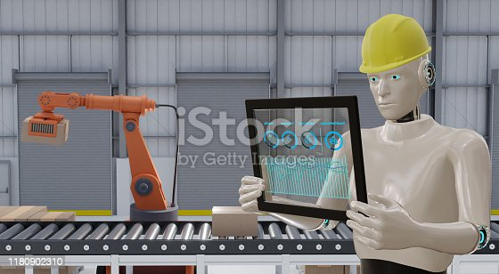 1150202730 istock photo 3d rendering, iot industry 4.0 concept,industrial robot using smart glasses with augmented mixed with virtual reality technology to monitoring machine in real time with hologram of assistant engineer 1180902310
