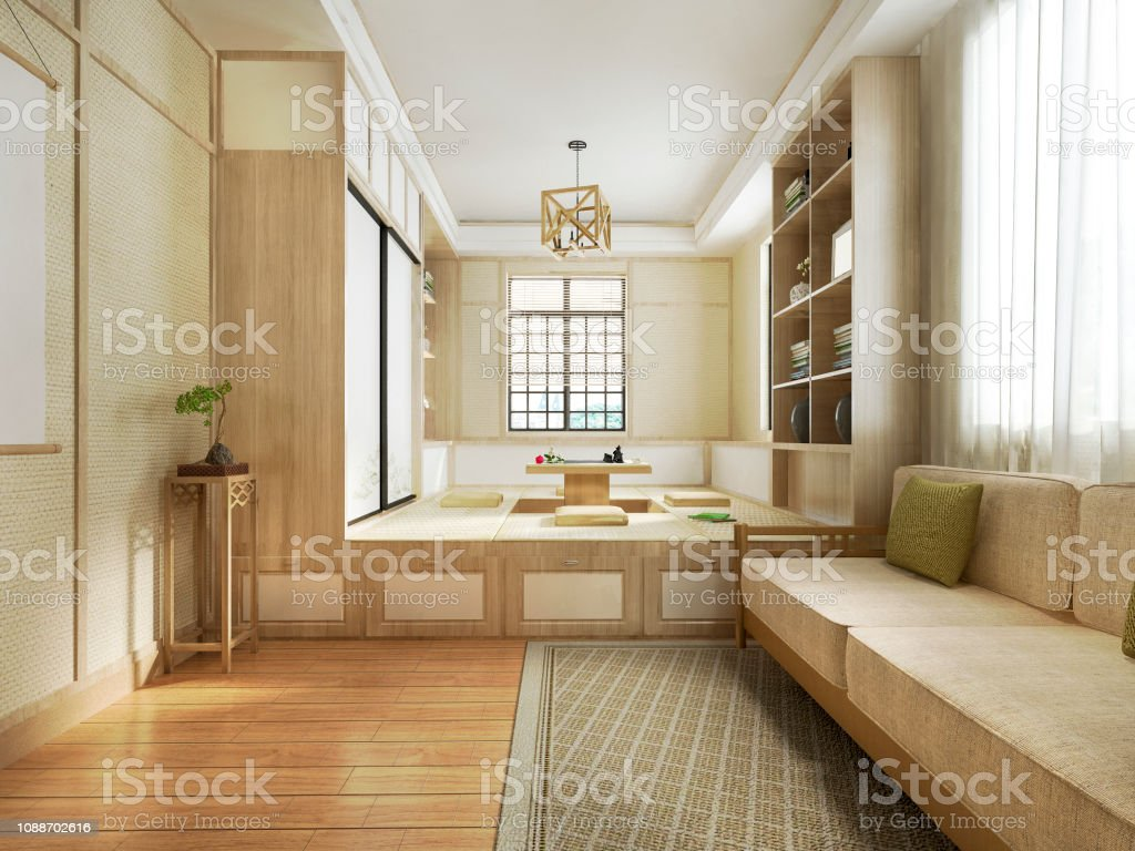 3d Rendering Japanese Style Living Room Stock Photo ...