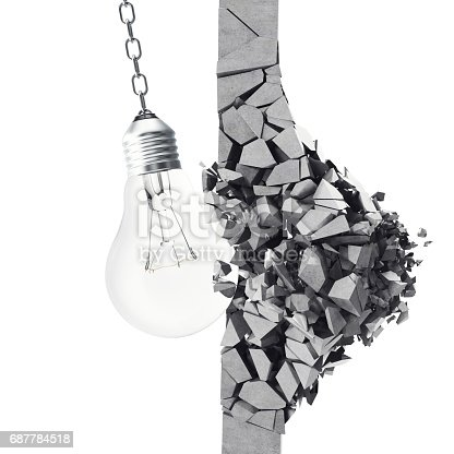 istock 3d rendering light bulb, demolishing wall smithereens, concept of creative thinking and innovation. 687784518