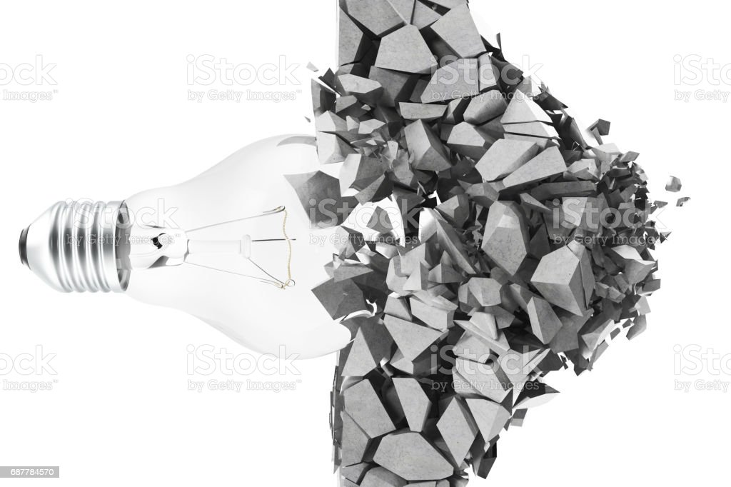 3d rendering light bulb, demolishing wall smithereens, concept of creative thinking and innovation. stock photo