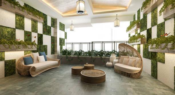 3D Rendering Wohnbereich in der Nähe von Balkon und grüne Wandpflanze – Foto