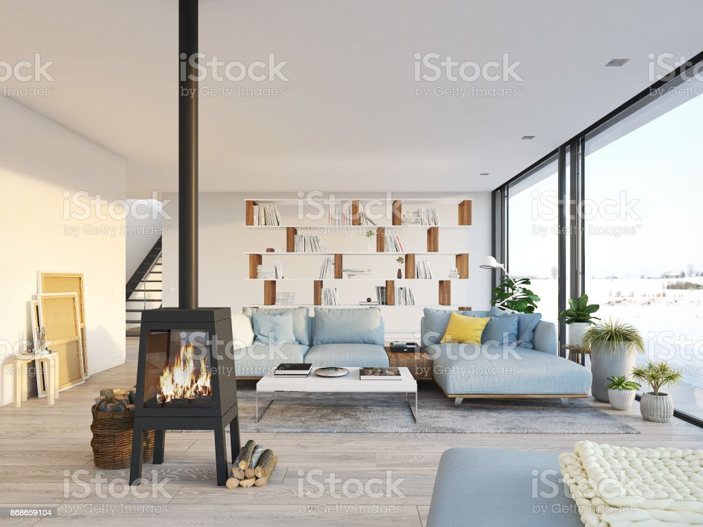 Modern loft living room - 3d Rendering Living Room With Cast Iron Fireplace In Modern Loft Apartment Royalty