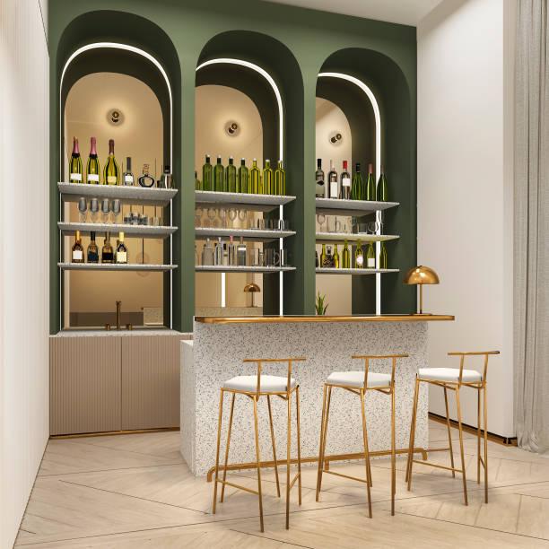 3D Rendering Loft und Luxus-Hotel-Rezeption und Café-lounge restaurant – Foto