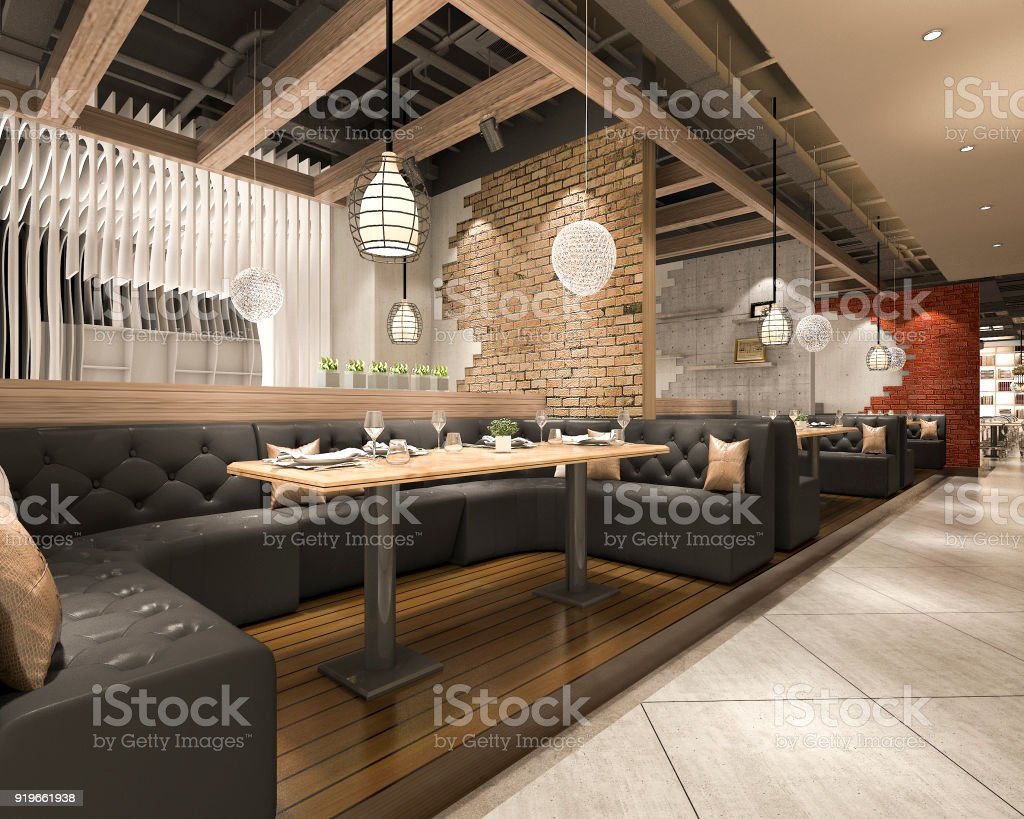 3d Rendering Loft And Luxury Hotel Reception And Cafe Lounge Restaurant Stock Photo Download Image Now Istock