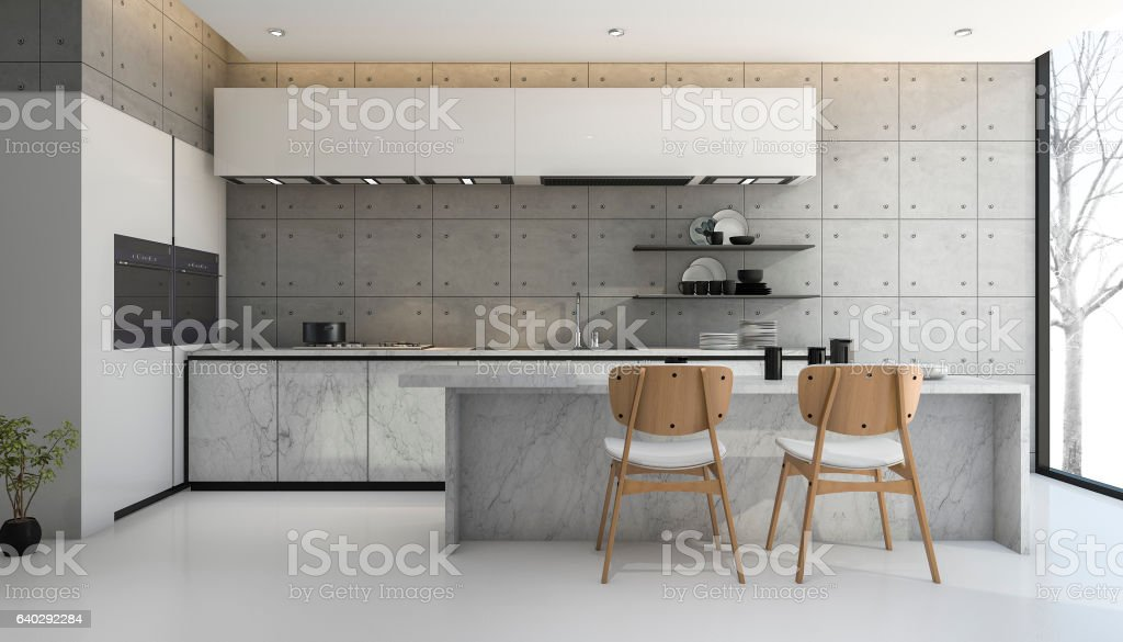 3d rendering loft and modern concrete kitchen stock photo