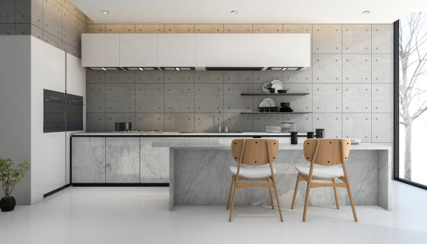 3d rendering loft and modern concrete kitchen 스톡 사진