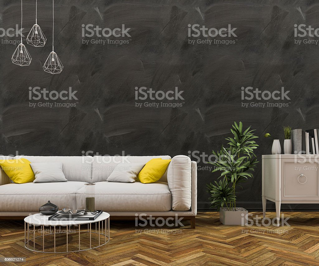 3d rendering loft black wall with sofa in living room
