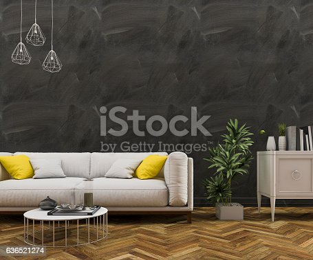 istock 3d rendering loft black wall with sofa in living room 636521274