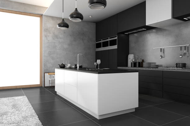 3d rendering loft dark kitchen near window - domestic kitchen stock photos and pictures
