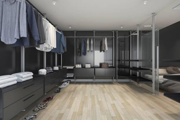 3d rendering loft dunkle begehbaren schrank und wohnzimmer - garderobe mit schuhschrank stock-fotos und bilder