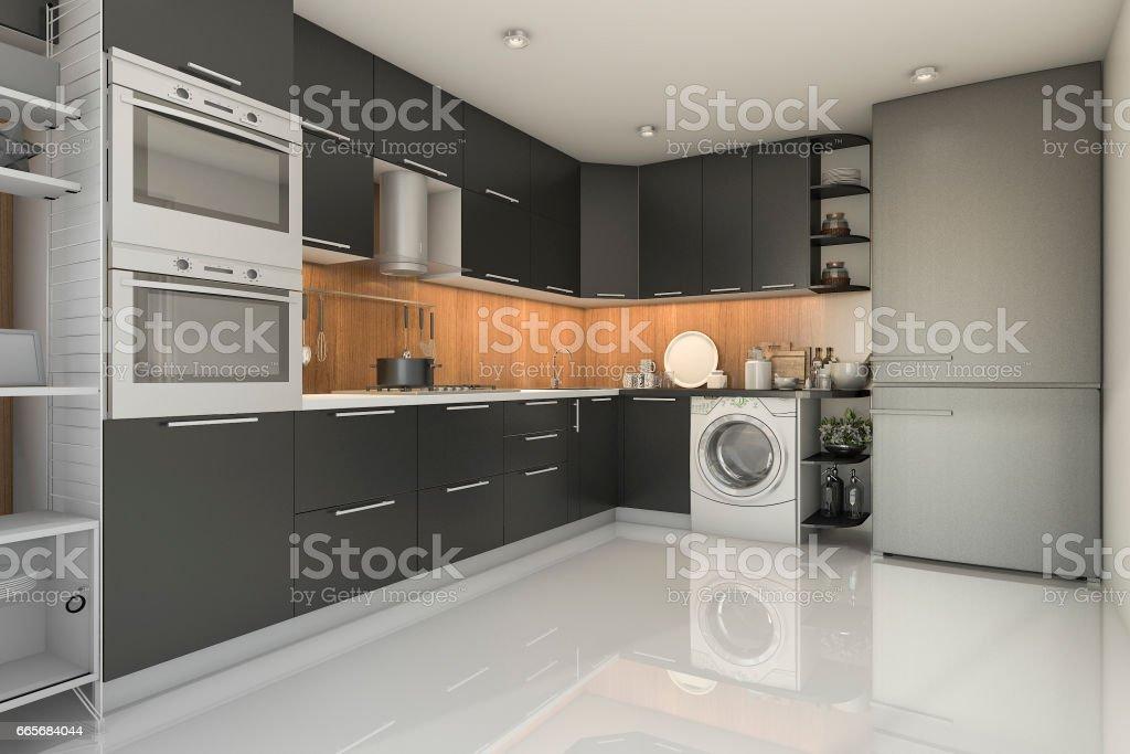 3d Rendering Loft Moderne Schwarze Kuche Mit Waschmaschine Stock