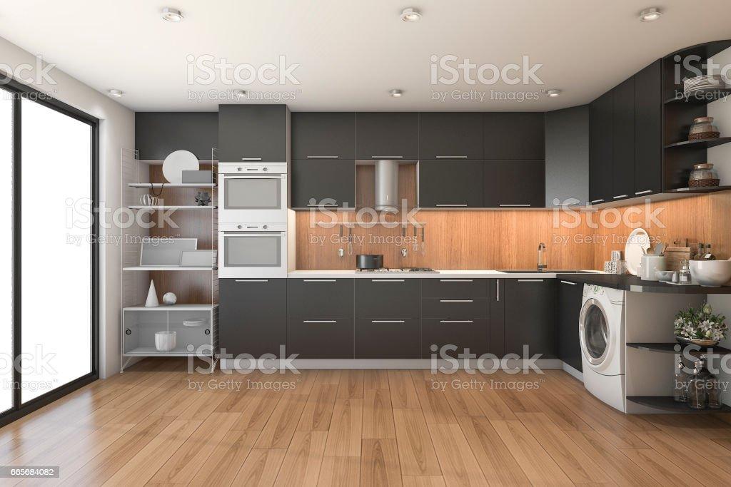Moderne Zwarte Keuken : D rendering loft moderne zwarte keuken met hout decor stockfoto