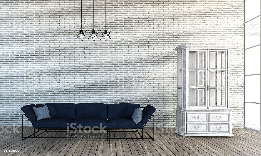 3d Rendering Loft Style Sofa In White Brick Wall Room Royalty Free Stock  Photo