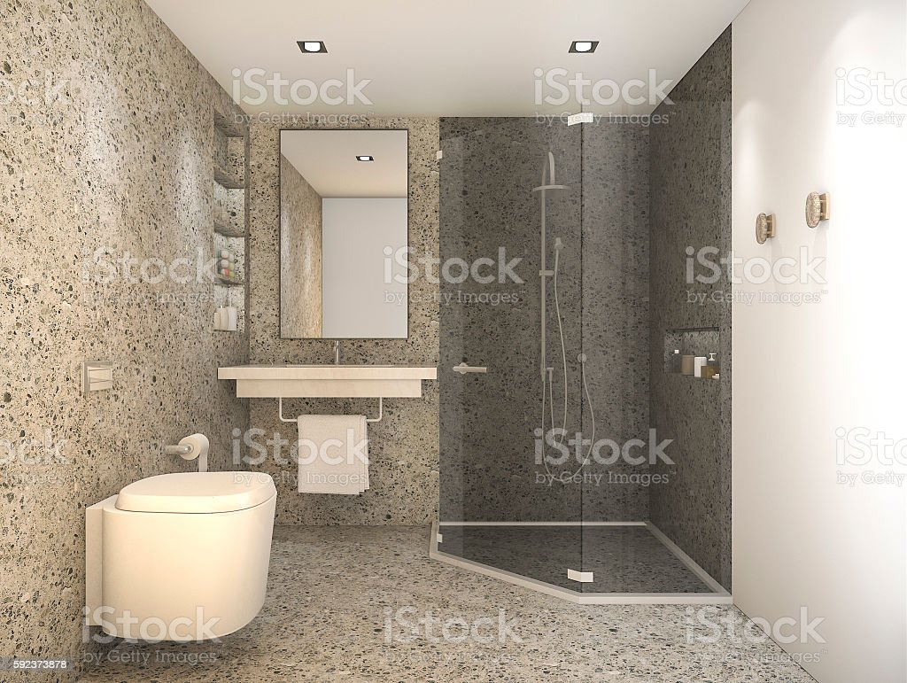 D rendering loft style toilet with nice stone texture