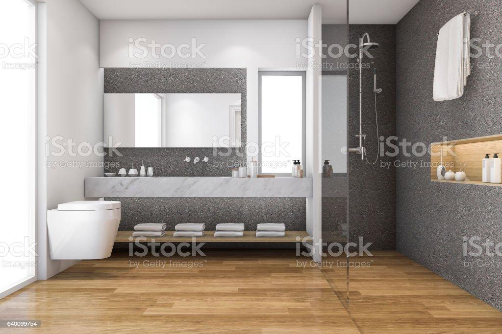 3d rendering loft wood and stone decor bathroom near window - foto stock