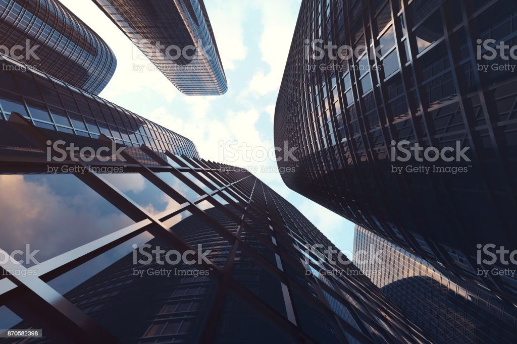 3d rendering Low angle view of skyscrapers. Skyscrapers at sunset...