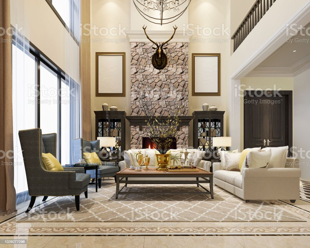 astounding 3d luxury living rooms | 3d Rendering Luxury And Modern Classic Living Room With ...