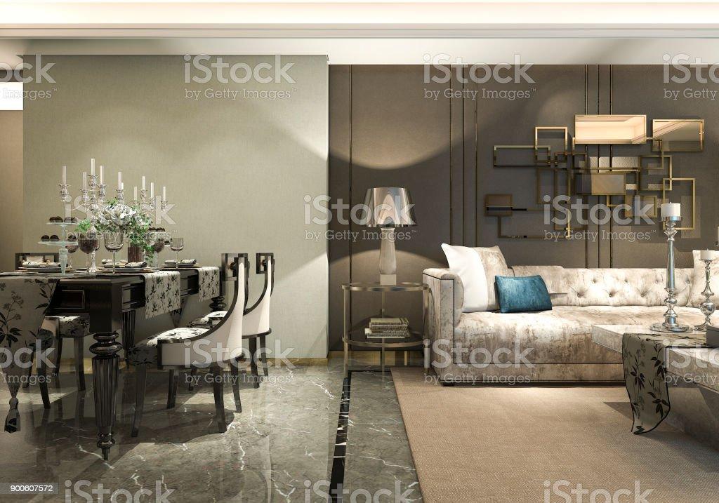 Kronleuchter Esszimmer Modern ~ 3d rendering luxus und moderne wohnzimmer und esszimmer stockfoto