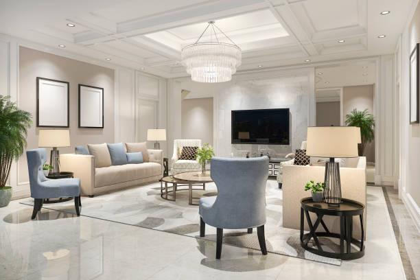 3d Rendering Luxus und modernes Wohnzimmer mit Bücherregal und Kronleuchter – Foto