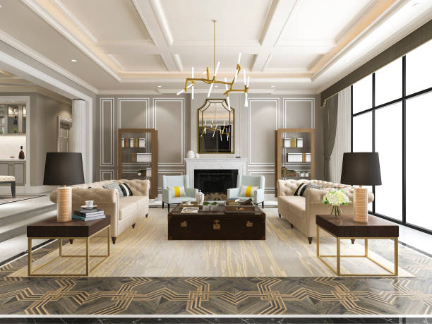 3d renderowania luksusowy i nowoczesny salon z półką na książki - luksus zdjęcia i obrazy z banku zdjęć