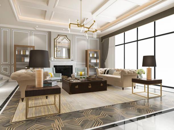 3d Rendering Luxus und modernes Wohnzimmer mit Bücherregal – Foto