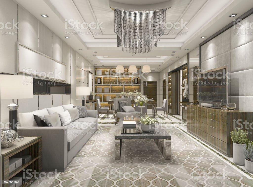 Entzuckend 3D Rendering Luxus Und Modernes Wohnzimmer Mit Kronleuchter Lizenzfreies  Stock Foto