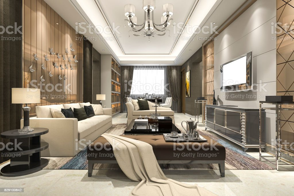 3d rendering luxury and modern living room with chandelier stock photo