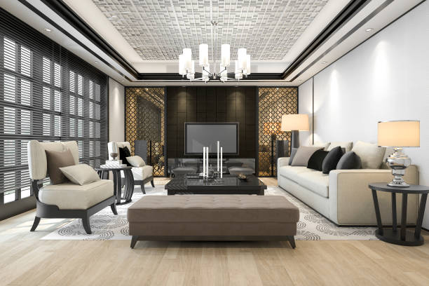 3d rendering luxury and modern living room with chandelier 3d rendering interior and exterior design by myself chandelier stock pictures, royalty-free photos & images