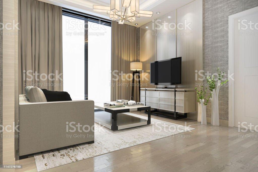 Photo libre de droit de Rendu 3d Luxe Et Salon Moderne Avec ...