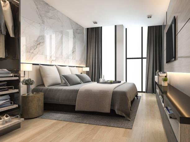 3D Rendering Luxus und modernes Wohnzimmer mit gutem Design Ledersofa – Foto