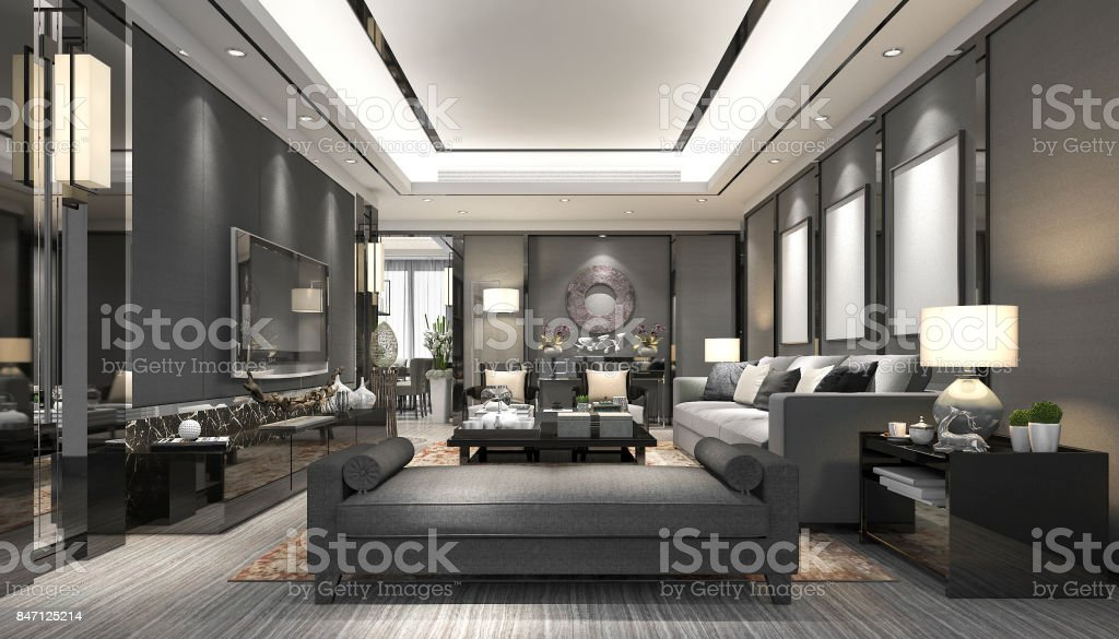 3d rendering luxury and modern living room with leather sofa stock photo