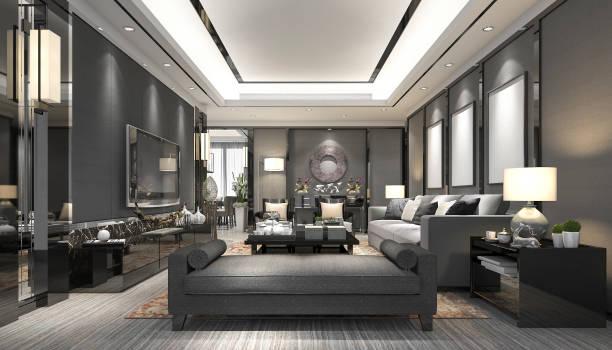 luxe de rendu 3D et moderne salle de séjour avec canapé en cuir - Photo