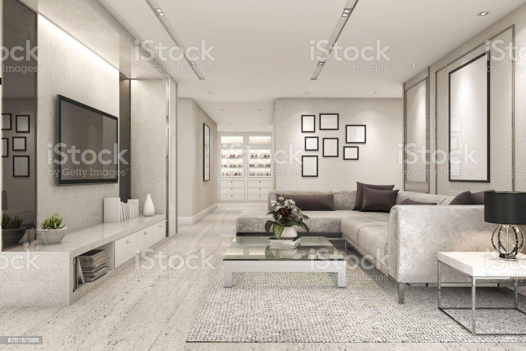 Marmer In Woonkamer : 3d rendering luxe en moderne woonkamer met marmeren tegel decor