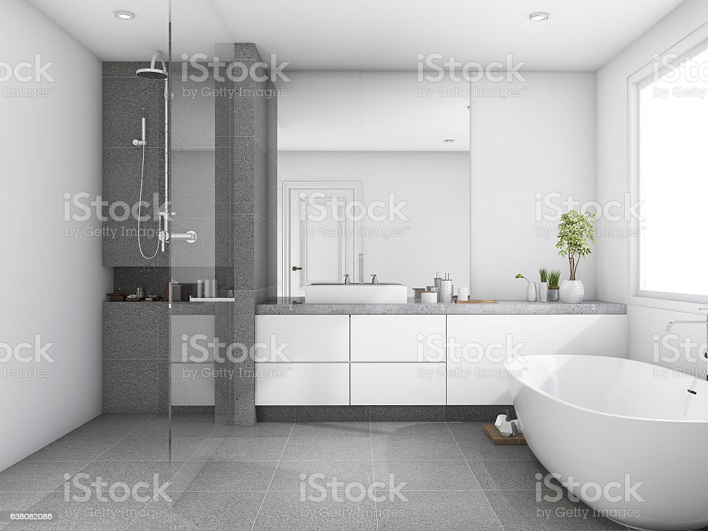 3d rendering luxury and modern style wood bathroom near window stock photo