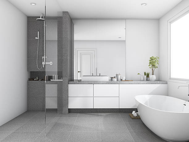 3d rendering luxury and modern style wood bathroom near window - foto de acervo