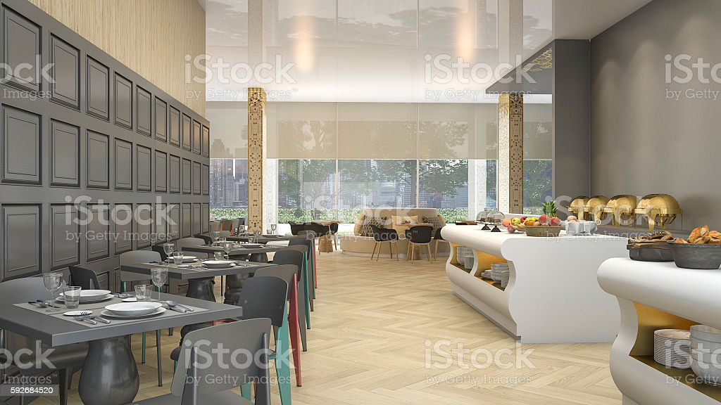 3d Rendering Luxury Buffet Restaurant In Elegant Hotel Stock