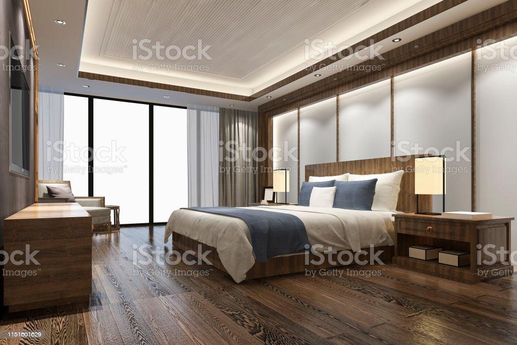 3d Rendering Luxury Chinese Bedroom Suite In Resort Hotel Stock Photo Download Image Now Istock