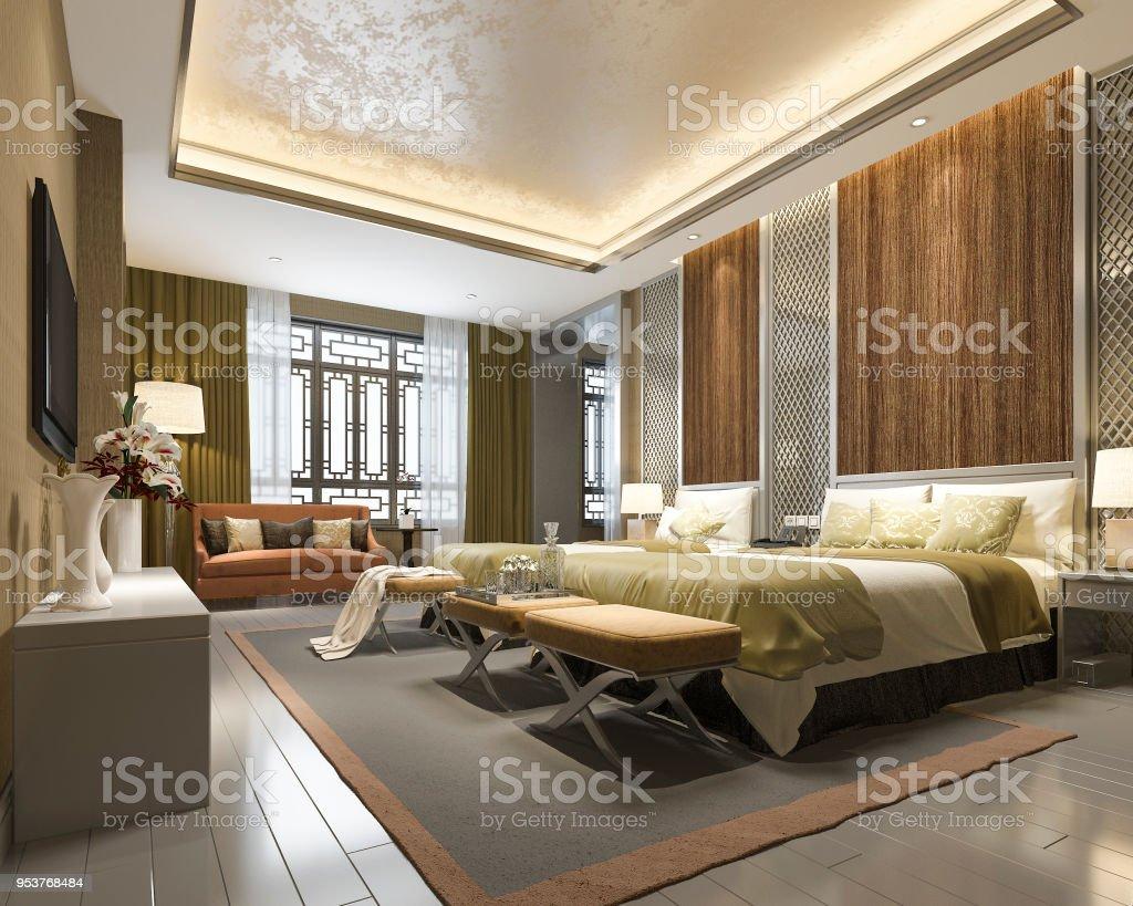Suite De Chambre Chinoise Luxe Rendu 3d En Resort Hôtel – Photos et ...
