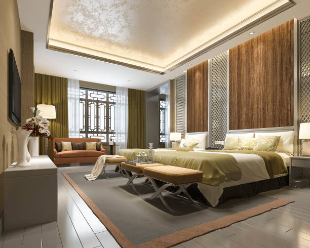 3d rendering luxury chinese bedroom suite in resort hotel 3d rendering interior and exterior design luxury hotel room stock pictures, royalty-free photos & images