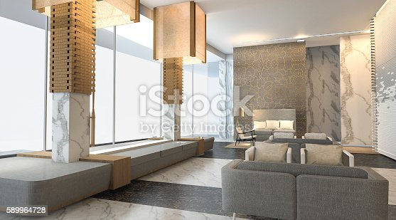 istock 3d rendering luxury hotel lobby with nice wall texture 589964728