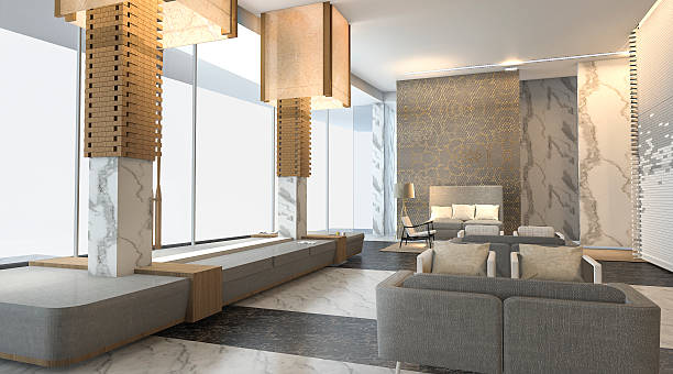 3d rendering luxury hotel lobby with nice wall texture stock photo