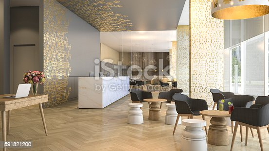 istock 3d rendering luxury hotel reception and lounge 591821200